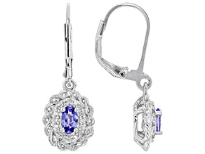 Pre-Owned Blue tanzanite rhodium over sterling silver dangle earrings 0.44ctw
