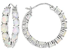 Pre-Owned White Ethiopian Opal Rhodium Over Sterling Silver Hoop Earrings 4.00ctw