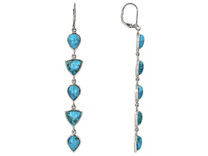Pre-Owned Turquoise Rhodium Over Silver Dangle Earrings