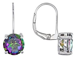 Pre-Owned Mystic Fire® Green Topaz Solitaire Rhodium Over Sterling Silver Earrings 3.99ctw