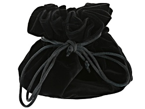 Pre-Owned Black Velvet Drawstring Travel Jewelry Pouch with 4 Interior Pockets