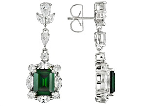 Pre-Owned Green And White Cubic Zirconia Sterling Silver Earrings 20.56ctw
