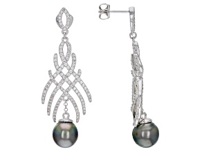 Pre-Owned Cultured Tahitian Pearl & White Zircon 0.46ctw Rhodium Over Sterling Silver Dangle Earring