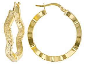 Pre-Owned 10K Yellow Gold Wavy Greek Earrings