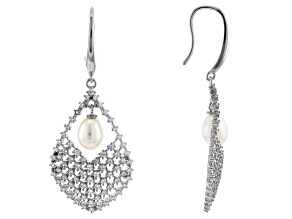 Pre-Owned White Cultured Freshwater Pearl & Cubic Zirconia 2.53ctw Rhodium Over Sterling Silver Earr