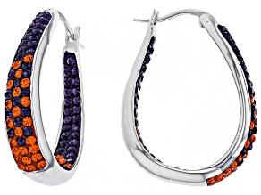 Pre-Owned Preciosa Crystal Orange And Purple Horseshoe Hoop Earrings