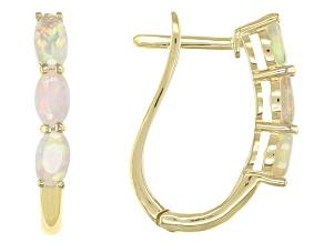 Pre-Owned Multi Color Ethiopian Opal 10k Yellow Gold J-Hoop Earrings .68ctw