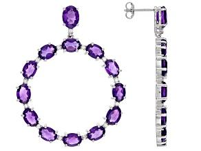 Pre-Owned Purple Amethyst Rhodium Over Sterling Silver Earrings 15.50ctw