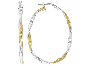 Pre-Owned Sterling Silver and 18K Yellow Gold Over Sterling Silver Texture Polished Oval Tube Hoop E