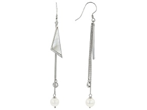 Pre-Owned White Cultured Freshwater Pearl, Mother-of-Pearl, & Cubic Zirconia Rhodium Over Silver Ear