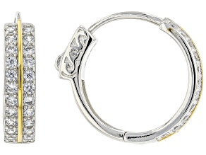 Pre-Owned White Cubic Zirconia Rhodium And 14K Yellow Gold Over Sterling Silver Hoop Earrings 1.50ct