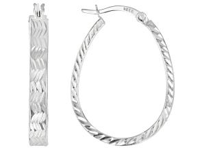 Pre-Owned Sterling Silver 4x30MM Oval Square Tube Hoop Earrings