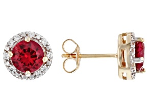 Pre-Owned Red Lab Created Ruby 18k Yellow Gold Over Sterling Silver Earrings 1.42ctw.