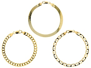 Pre-Owned 18K Yellow Gold Over Sterling Silver Set of 3 Flat Curb, Mariner, and Herringbone Link Bra
