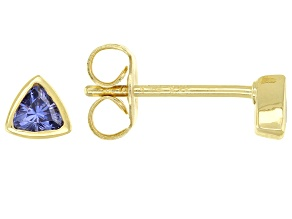 Pre-Owned Blue Cubic Zirconia 18K Yellow Gold Over Sterling Silver Stud Earrings 0.31ctw