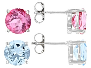 Pre-Owned Pink Topaz Rhodium Over Sterling Silver Earring Set. 9.16ctw.
