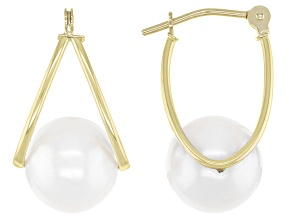 Pre-Owned White Cultured Freshwater Pearl 14k Yellow Gold Earrings
