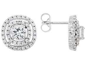 Pre-Owned White Sapphire Rhodium Over Sterling Silver Earrings. 1.85ctw