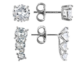 Pre-Owned White Cubic Zirconia Rhodium Over Silver Earrings Set of 2  (3.32ctw DEW)
