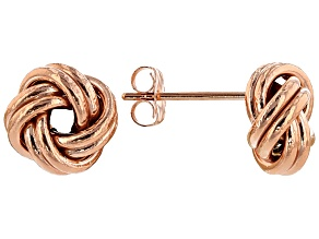 Pre-Owned 14k Rose Gold Over 14k Yellow Gold Hollow Love Knot Earrings