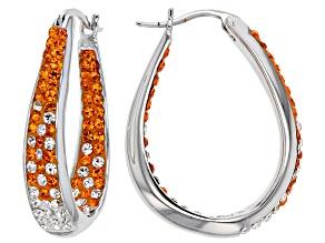Pre-Owned Crystal Orange And White Horseshoe Hoop Earrings