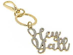 """Pre-Owned White Crystal """"Hey Y'all"""" Gold Tone Key Chain"""