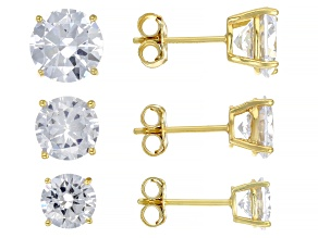 Pre-Owned White Cubic Zirconia 18k Yellow Gold Over Sterling Silver Earrings- Set of 3 13.50ctw
