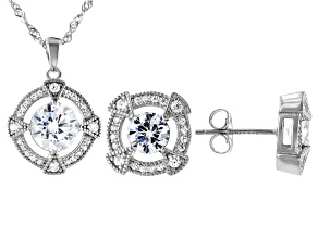 Pre-Owned White Cubic Zirconia Rhodium Over Sterling Silver Pendant With Chain And Earrings 7.28ctw