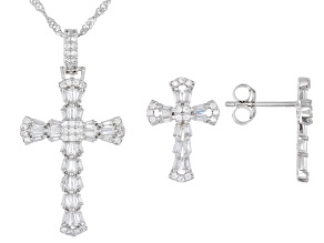 Pre-Owned White Cubic Zirconia Rhodium Over Silver Cross Pendant With Chain And Earrings (0.74ctw DE