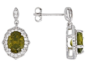 Pre-Owned Green peridot rhodium over silver earrings 2.74ctw
