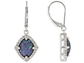 Pre-Owned Multi-color Australian Opal Triplet Rhodium Over Silver Dangle Earrings .49ctw
