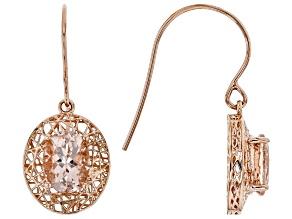 Pre-Owned Pink Cor-de-Rosa Morganite™ 10k Rose Gold Earrings 1.87ctw