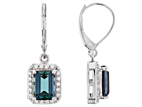 Pre-Owned Teal Lab Created Alexandrite Rhodium Over 10k White Gold Earrings 3.67ctw