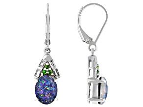 Pre-Owned Multi-color Australian Opal Triplet Rhodium Over Silver Earrings .39ctw