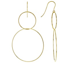 Pre-Owned 10K Yellow Gold Double-Drop Graduated Tube Hoop Earrings