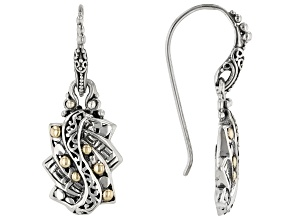 """Pre-Owned Sterling Silver With 18k Gold Accent """"Trilogy Step"""" Earrings"""