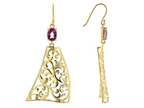 Pre-Owned Lavender Path™ Quartz 18k  Yellow Gold Over Silver Scroll Work Earrings 2.40ctw