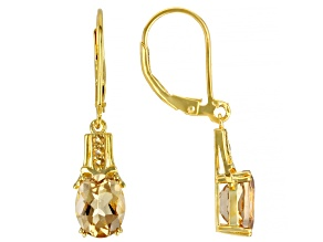 Pre-Owned Yellow Quartz 18K Yellow Gold Over Sterling Silver Earrings 3.04ctw