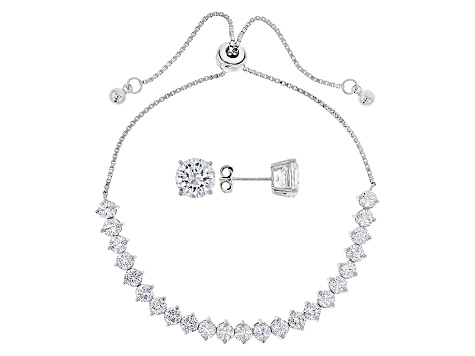 Pre-Owned White Cubic Zirconia Rhodium Over Sterling Silver Jewelry Set 13.59ctw
