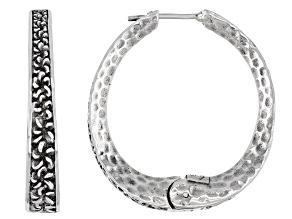 Pre-Owned Sterling Silver Frangipani Flower Hoop Earrings