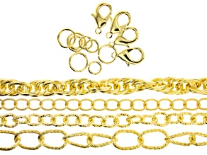 """Pre-Owned Aluminum Chain Kit in 4 Designs in Gold Tone Appx 120"""" Total with Findings"""