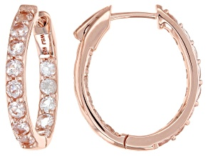Pre-Owned Peach morganite 18k rose gold over silver inside/outside hoop earrings