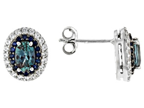 Pre-Owned Blue Lab Created Alexandrite Rhodium Over Sterling Silver Earrings 1.38ctw