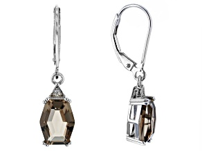 Pre-Owned Brown Smoky Quartz Rhodium Over Silver Earrings 2.64ctw
