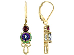 Pre-Owned Mystic Fire® Topaz 18k Gold Over Silver Earrings 3.34ctw