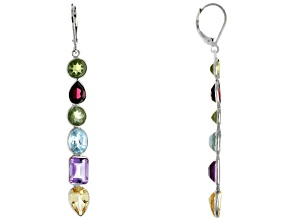 Pre-Owned Multi-Gem Rhodium Over Silver Dangle Earrings 12.40ctw