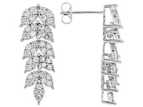 Pre-Owned White Lab-Grown Diamond 14k White Gold Dangle Earrings 1.49ctw
