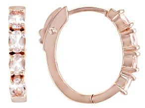 Pre-Owned Peach Morganite 18k Rose Gold Over Sterling Silver Hoop Earrings 0.95ctw