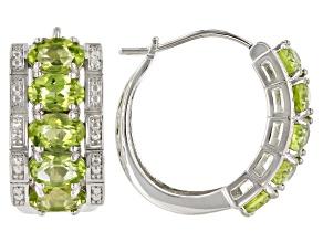 Pre-Owned Green Peridot Rhodium Over Sterling Silver Hoop Earrings 3.83ctw