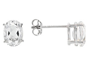 Pre-Owned White Crystal Quartz Rhodium Over Sterling Silver Earrings1.87ctw